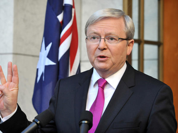 Australia's Prime Minister Kevin Rudd addresses the media in Canberra after calling Sunday for a general election in September.