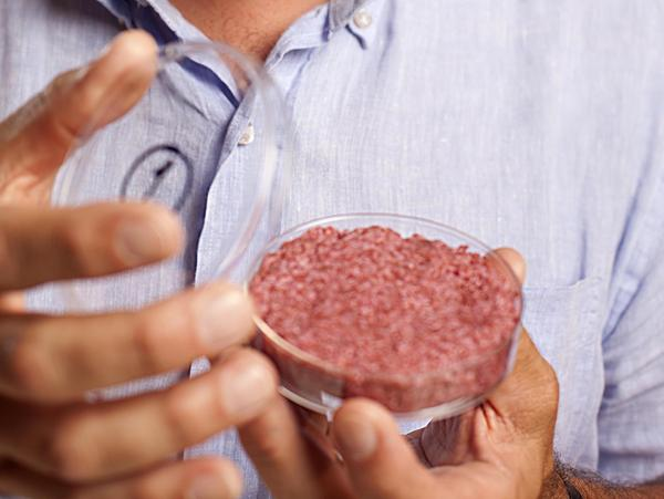 The burger developed by Professor Mark Post of Maastricht University in the Netherlands.