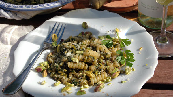 Julia della Croce says pistachio pesto is an economical — and delicious — alternative when Italian pine nuts can cost up to $120 per pound.
