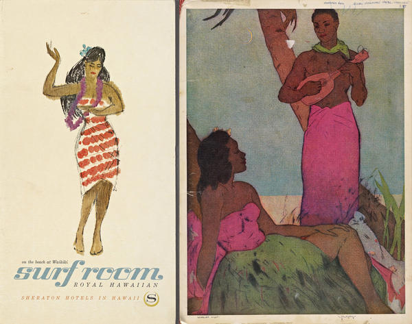 Colorful covers of menus from the Royal Hawaiian Hotel (left) and the Monarch Room Royal Hawaiian Hotel.