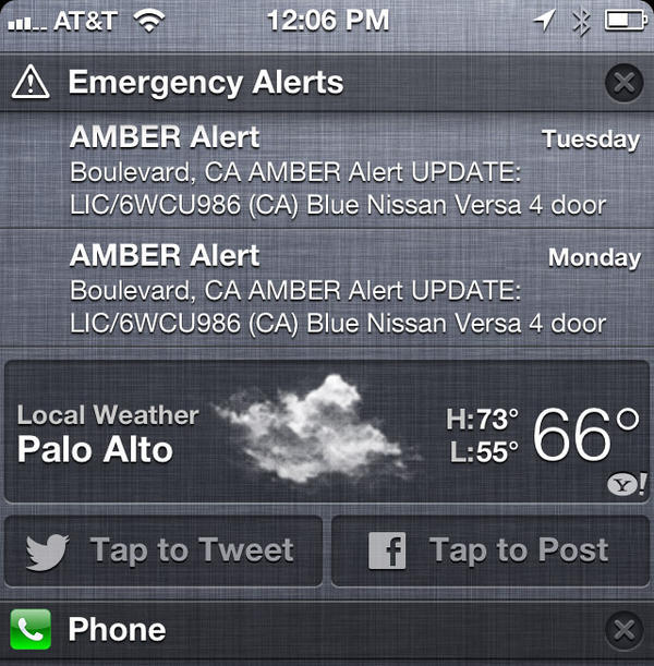Amber Alerts were issued as cellphone text messages in California this week.