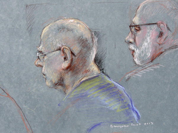 "A courtroom sketch of James ""Whitey"" Bulger (left) and defense attorney J.W. Carney, Jr."