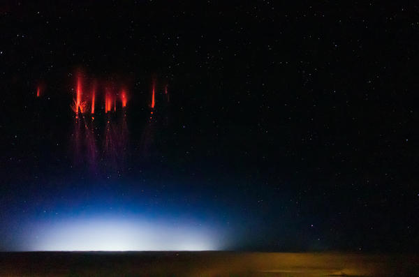 Sprites sparkle over Red Willow County, Neb., on Monday.