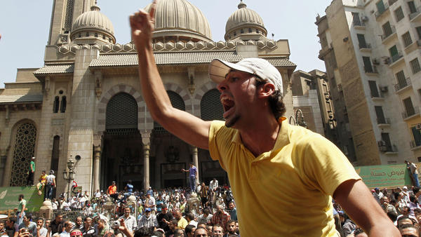 Supporters of the ousted president, Mohammed Morsi, protest outside the Al-Fath Mosque in Ramses Square in Cairo on Friday.