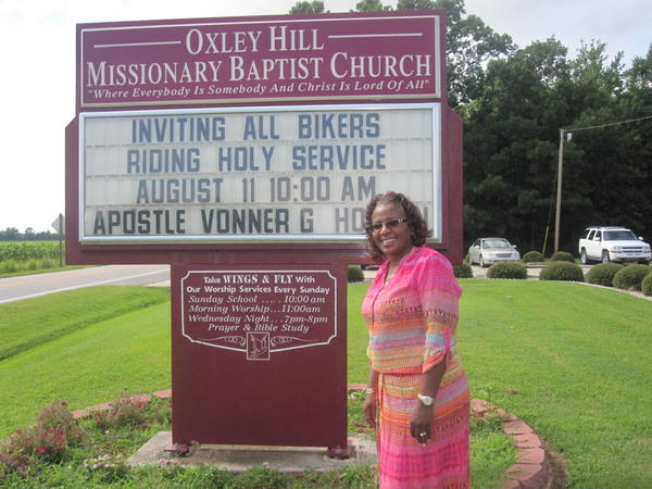 The Rev. Vonner Horton outside her church in Merry Hill, N.C. For years, Horton and the church have used the state's early-voting system to make sure as many people as possible could vote. She says the new law that shaves a week off early-voting dates will make it harder for some to vote.