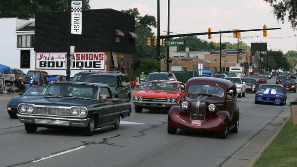 Classic cars of all makes and models drive the 16-mile stretch along Woodward Avenue during the annual Dream Cruise in 2009 in Ferndale, Mich. During the annual event, the glory days of car culture return, if only for a day.