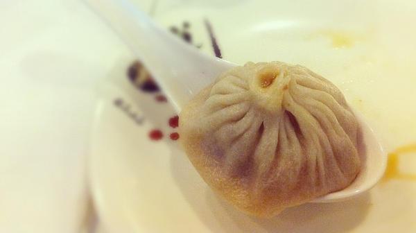 A <em>xiao long bao</em>, or soup dumpling, in a large spoon.