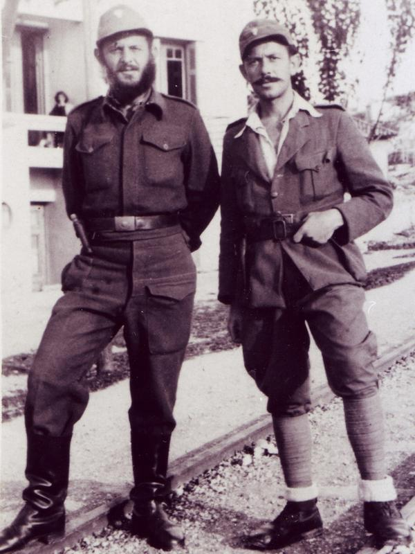 "Yussuroum (right) with a fellow Greek soldier fighting the Nazis during World War II. He used the Christian name ""Yiorgos Gazis"" in case the Nazis captured him."
