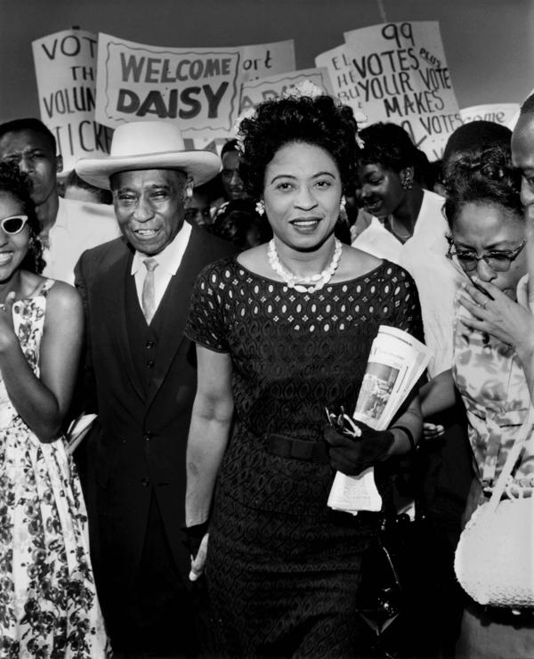 Daisy Bates of Little Rock, Ark., visited Memphis, Tenn., in August 1959 with Lt. George W. Lee, a prominent Memphis civic leader and author. Bates acted as adviser to the nine black students who integrated Little Rock's Central High School in 1957. She died in 1999.