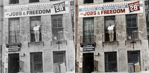 """Cleveland Robinson stands on the second floor balcony of the National Headquarters of the March on Washington in Harlem, N.Y. Colorized by <a href=""""https://www.facebook.com/pages/Infused-With-Colour/171850249666818"""">B. Cakebread</a>."""