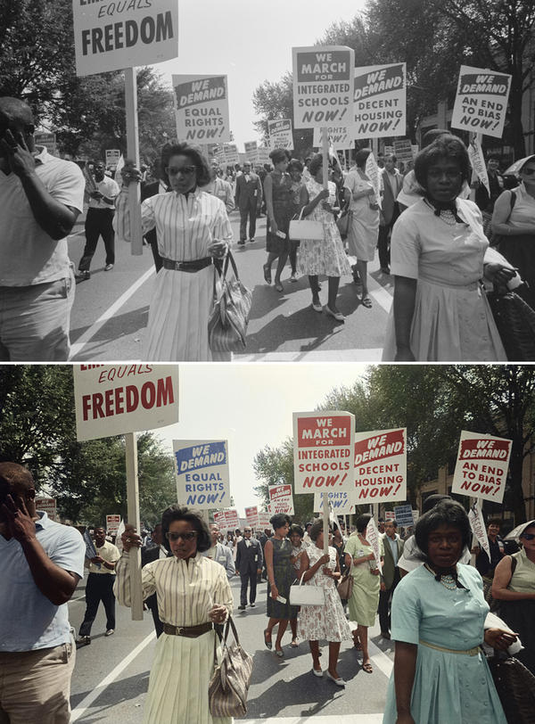 """Demonstrators march through the streets. Colorized by <a href=""""http://cargocollective.com/Wistisen"""">Oliver Wistisen</a>."""