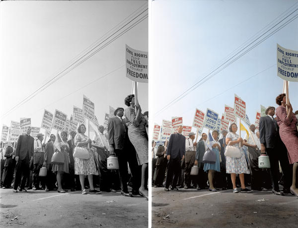 """Demonstrators march through the streets. Colorized by <a href=""""https://www.facebook.com/photoretrofit"""">Paul Edwards</a>."""