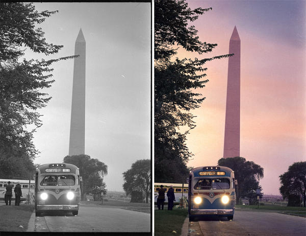 """A bus leaves Washington after the march. Colorized by <a href=""""http://coloringthepast.tumblr.com/"""">Rick Pierce</a>."""