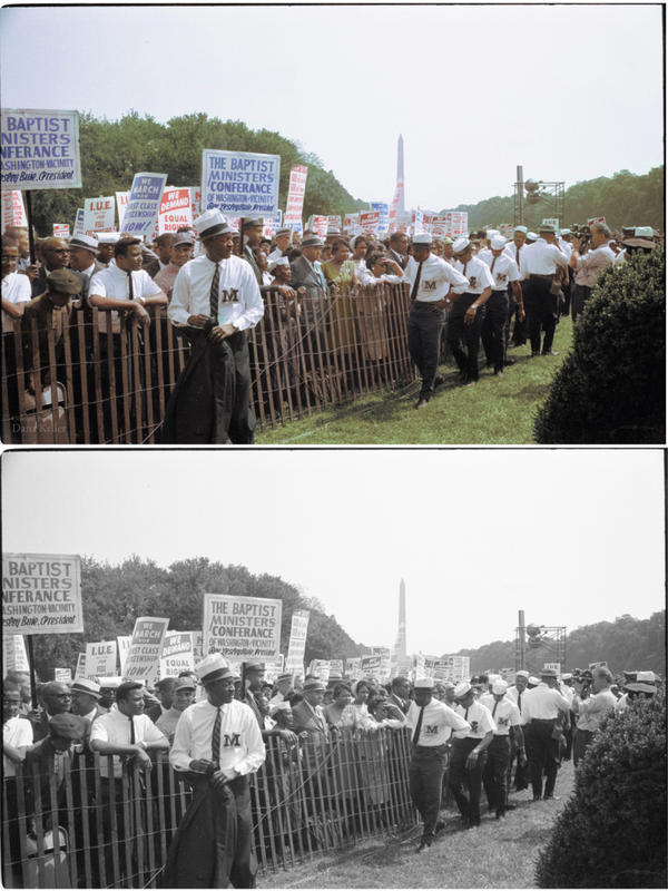 """Marshals watch the crowd during the march. Colorized by <a href=""""https://www.facebook.com/HistoryInColor"""">Dana Keller</a>."""