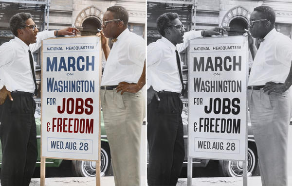 """Bayard Rustin (left), deputy director of the March on Washington, and Cleveland Robinson, chairman of administrative committee. Colorized by <a href=""""https://www.facebook.com/pages/Cyriel-Roumen/1400402486852835?fref=ts"""">Cyriel Roumen</a>."""