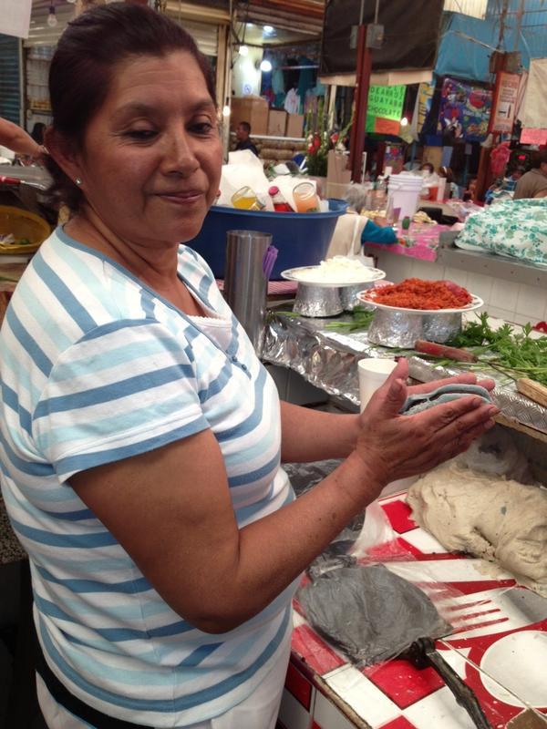 Isabel Salazar Cabrera says her <em>tlacoyos</em> are the best because of the way she cooks the bean filling. She says her mom was the first to ever sell tlacoyos in Xochimilo, a suburb in southern Mexico City.