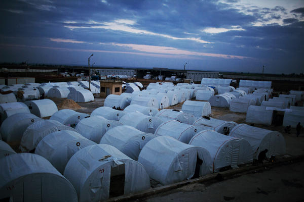 A refugee camp is set up near the Turkish border in Azaz, Syria on Dec. 9, 2012.