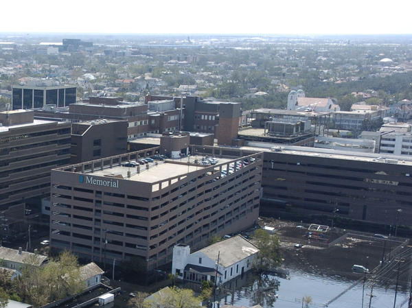 An aerial view of Memorial Medical Center surrounded by floodwaters on Sept. 9, 2005.