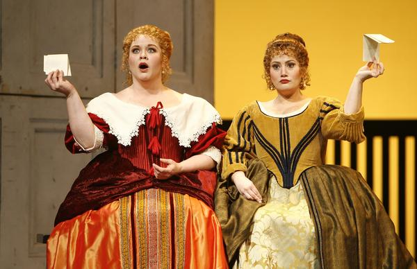 Pamela Armstrong (left) as Alice Ford and Heather Johnson as Meg Page in New York City Opera's production of <em>Falstaff. </em>The so called people's opera may have to cancel its upcoming season if fundraising falls short.<em></em>