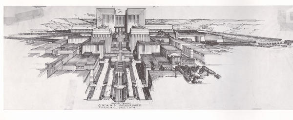 Lloyd Wright, Civic Center Plan, 1925. Lloyd Wright's competition entry for the Los Angeles Civic Center put rapid-transit throughways under the city and gave pedestrians right-of-ways on broad terraces.