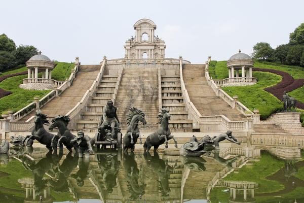 A replica of the Fountain of Apollo, which is actually in Versailles, is one of the many sculptural features in Sky City.