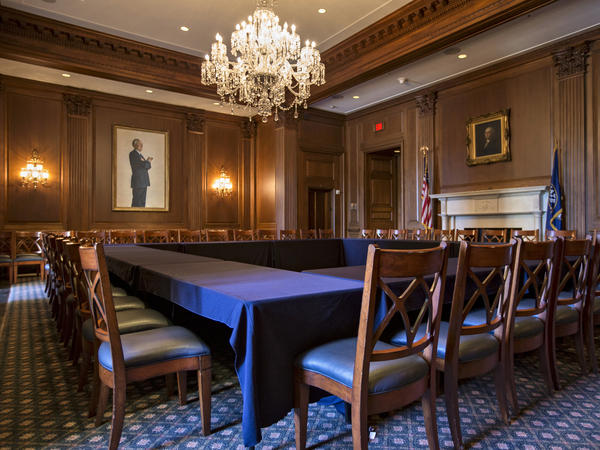 An empty Senate meeting room, just outside the chamber, is seen Monday in Washington. Only a week remains for Congress to pass a funding bill to avoid a government shutdown.