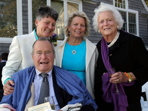 Former President George H.W. Bush, former first lady Barbara Bush, right, and their newly wedded friends Helen Thorgalsen, center, and Bonnie Clement.