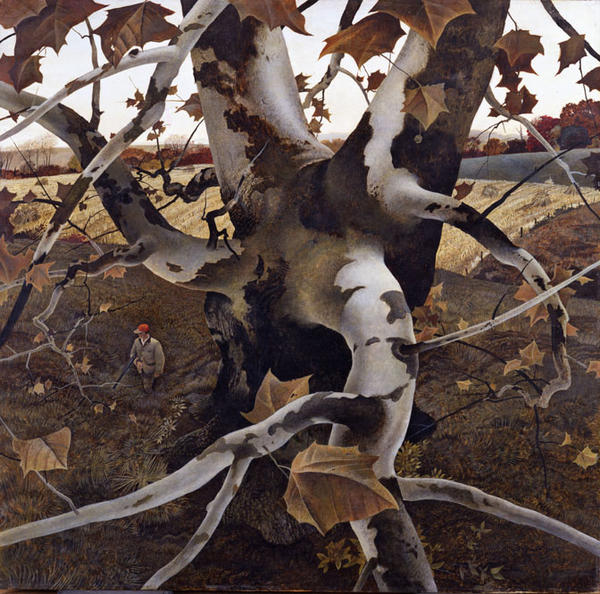Andrew Wyeth , The Hunter, 1943, Tempera on Masonite, 33 x 33 7/8 inches. Lent by the Toledo Museum of Art;  Elizabeth C. Mau Bequest Fund. ©Andrew Wyeth