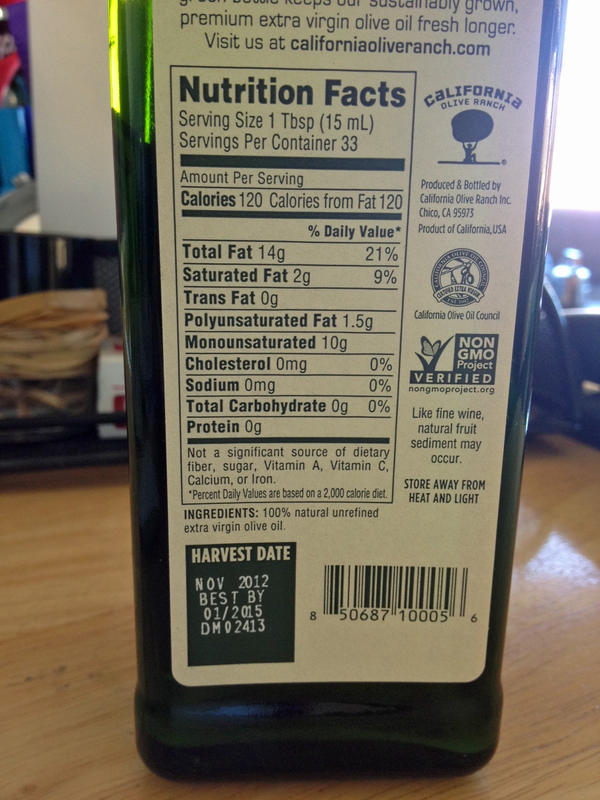 A bottle of California Olive Ranch oil with the harvest date.