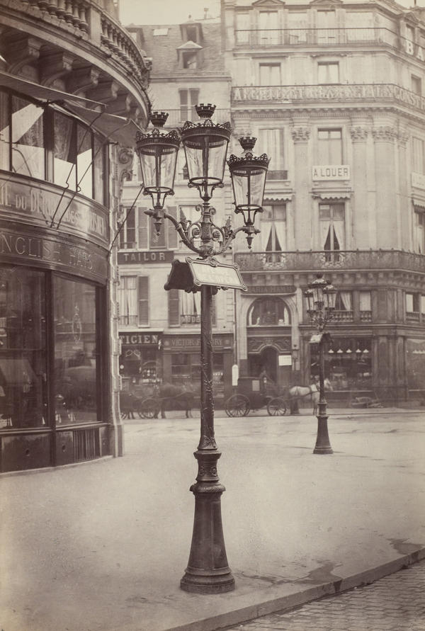 The elegant gas lamps of Paris' Haussmann transformation, seen here in 1877-1878, also contributed to its reputation as a modern metropolis.