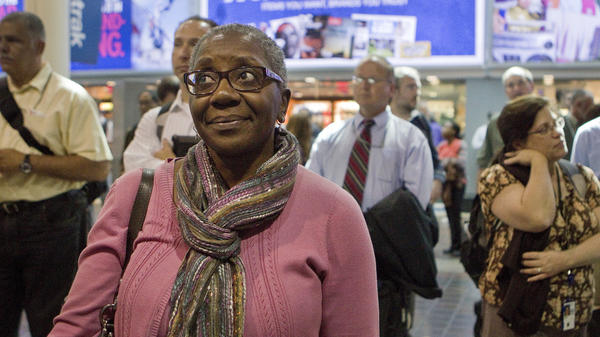 Pat Barnes of Hanover, Md. waits for her train at Union Station in Washington, D.C. on Oct. 1, the first day of the government shutdown. Barnes is a federal employee and was sent home early in response to the shutdown.