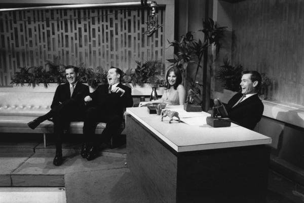 Ed McMahon (from left), an unidentified man, Barbra Streisand and Johnny Carson on <em>The Tonight Show,</em> New York City, 1964.