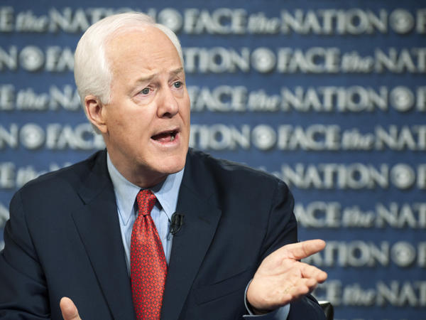 Texas Republican Sen. John Cornyn speaks on CBS's <em>Face the Nation</em> on Sunday. Cornyn said the partial federal government shutdown cannot end unless President Obama sits down with congressional Republicans.