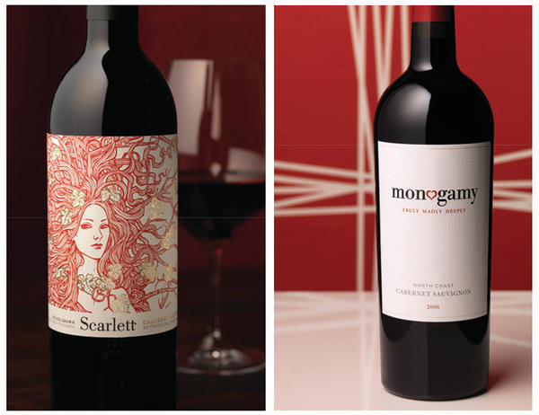 Shelf pop: Brilliant red ink and an arresting illustration make Scarlett stand out in a sea of Napa cabernet sauvignons. A splash of gold adds richness and elegance.