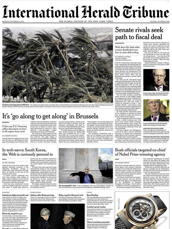 An image showing the final front page of <em>The International Herald Tribune</em>, published Monday Oct. 14. The newspaper will become<em>The International New York Times</em>Tuesday.