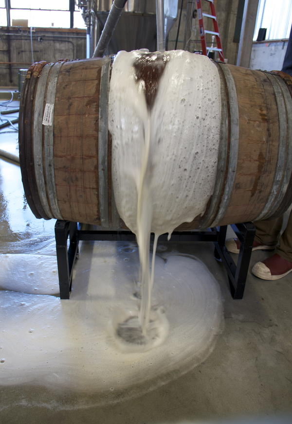 Most sour beers are moved to oak barrels for aging, which can be a messy business. Now how would Homer Simpson handle this situation?