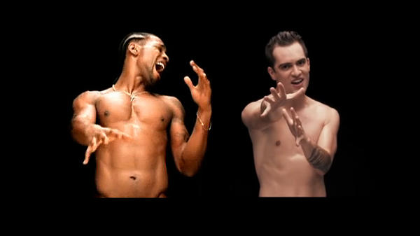 """D'Angelo in his video for """"Untitled (How Does It Feel),"""" right, and Brendon Urie, in Panic! at the Disco's video for """"Girls/Girls/Boys."""""""