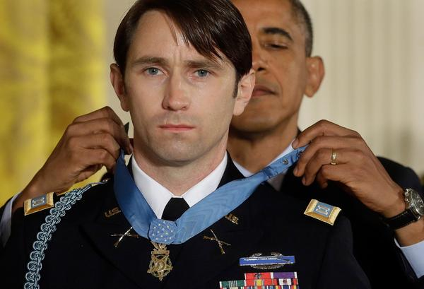 President Barack Obama awards the Medal of Honor to retired Army Captain William D. Swenson on Wednesday. (AP/Pablo Martinez Monsivais)