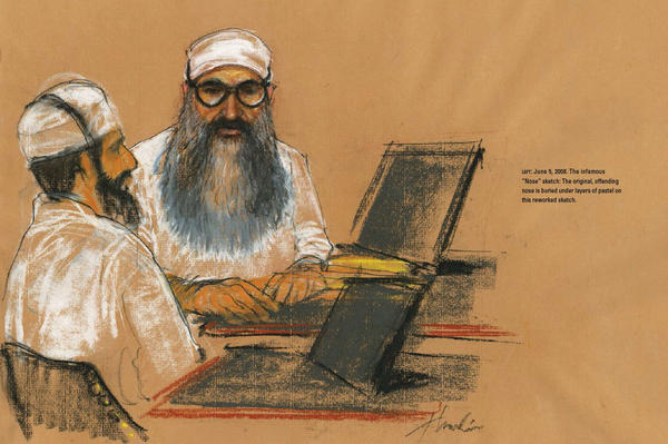 """""""The nose is wrong, and tell the artist to go get my F.B.I. picture off the Internet and use it as a reference to fix it."""" The infamous """"Nose"""" sketch: Khalid Sheikh Mohammed's original, offending nose is buried under layers of pastel on this reworked sketch."""