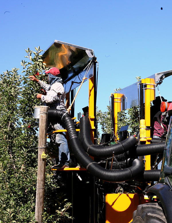 An apple picker sits atop the platform of a prototype apple-picking machine at Riveridge Produce.