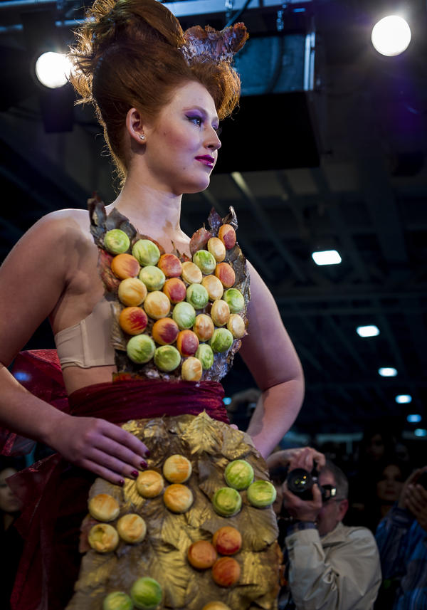 """London patisserie <a href=""""http://www.oncafe.co.uk/patisserie/?page_id=138"""">On Cafe</a>'s entry featured a gown covered in macarons, of course."""