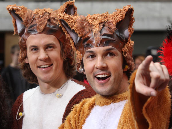 "The Norwegian duo Ylvis (brothers Bard and Vegard Vlvisaker), who ask ""What Does the Fox Say?"""