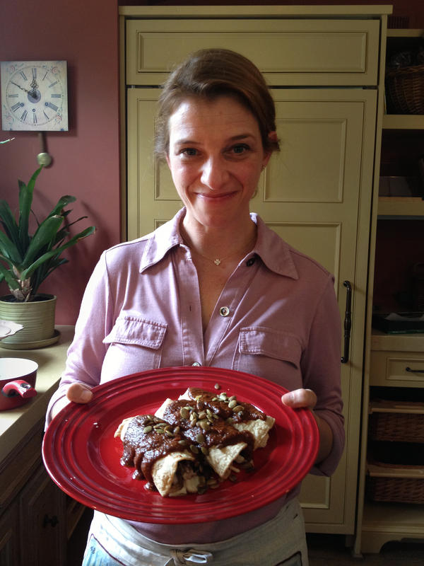 Author and food show personality Pati Jinich shows off her pumpkin and ancho chile mole.