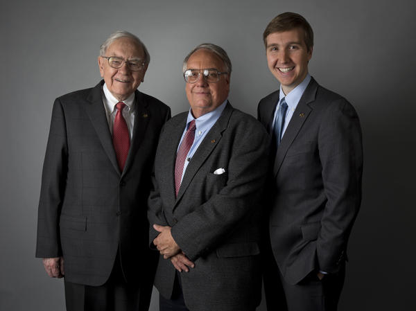 Warren Buffett (left), Howard G. Buffett (center) and grandson Howard W. Buffett collaborated on a book about the challenges of feeding more than 2 billion more mouths by 2050.