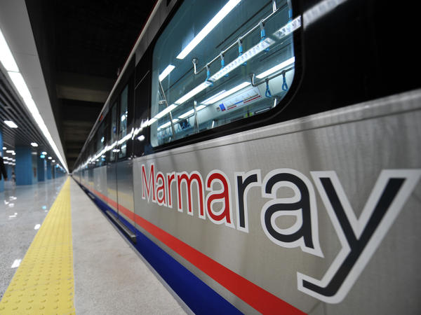 A Marmaray Project train awaits its inauguration ceremony in Istanbul on Tuesday.