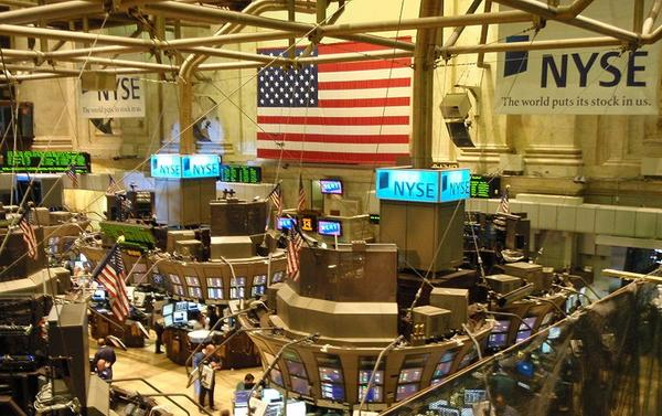 A view from the Member's Gallery inside the New York Stock Exchange in August 2008. (Wikimedia Commons)