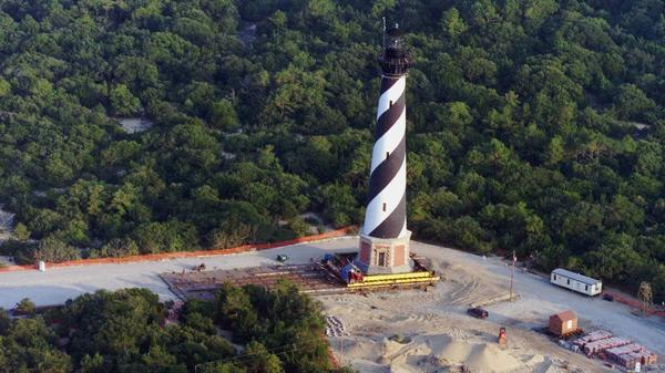 The Cape Hatteras Lighthouse in Buxton, N.C., was moved almost 3,000 feet inland on July 9, 1999, to protect it from the advancing ocean.