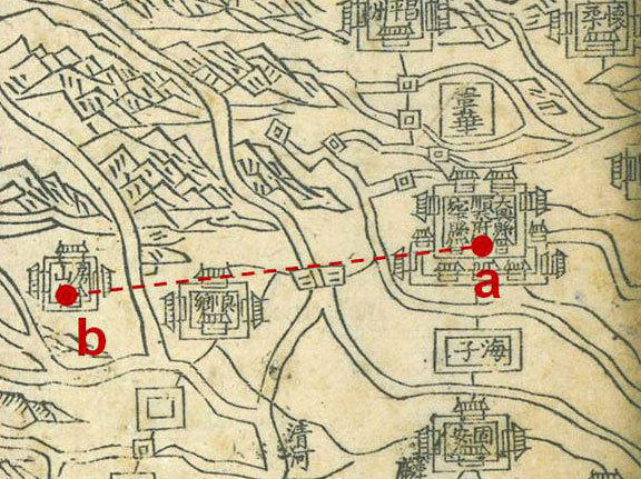 The distance between the Forbidden City in Beijing (a) and the Dasiwo Quarry in Fangshan (b) is about 43 miles. Double lines on the map represent rivers; single lines represent roads.