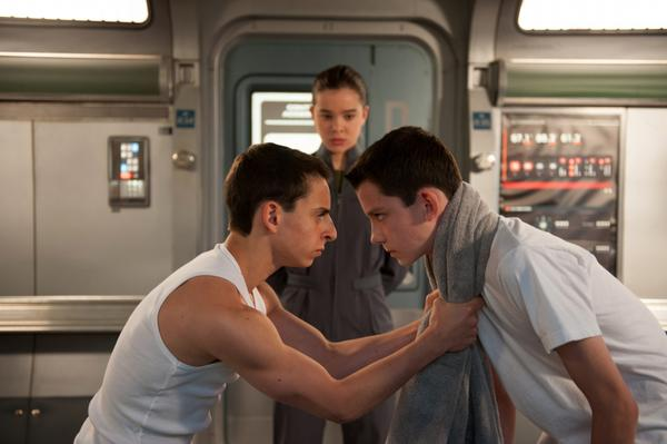 """Moises Arias, who plays Ender's captain Bonzo (left) and Asa Butterfield, who plays Ender, on the set of """"Ender's Game."""" (Richard Foreman Jr., SMPSP, © 2013 Summit Entertainment, LLC. All Rights Reserved.)"""