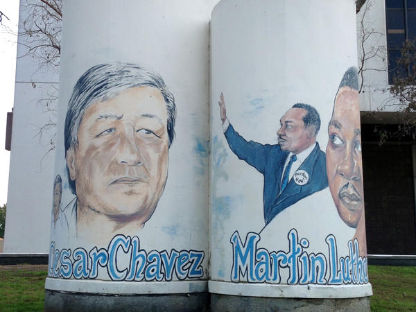 A mural in downtown Compton, Calif., puts Cesar Chavez and Martin Luther King Jr., side by side. The historically black city is predominantly Hispanic.